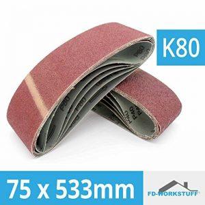 10 x bandes abrasives 75 x 533 mm bande abrasive pour ponceuse à bande Grain 80 de la marque FD-Workstuff image 0 produit