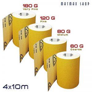 4rouleau x 10m (chaque) P60(caorse) + P80(Midium) + P120(Fine) + P180(très fin) Klingspor (Allemagne); en oxyde d'aluminium rouleau de papier abrasif–La Plus populaire. de la marque MatMax image 0 produit