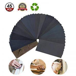 45PCS Main Sanders Papier Verre, GOCHANGE 80-3000 grains, 15 types de grain X 3, 230 x 93 mm Papier Polissage Abrasif étanche/humide pour le meulage automobile de la marque GOCHANGE image 0 produit