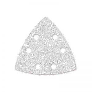 50 Feuilles abrasifs auto-agrippantes MENZER/papier abrasif pour ponceuse triangulaire, blanc - 93 mm - grain 400-6 trous de la marque MENZER image 0 produit