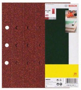 Bosch 2607017101 Set de 25 abrasifs pour Ponceuse vibrante 93 x 230 grain 180 perforés de la marque Bosch image 0 produit