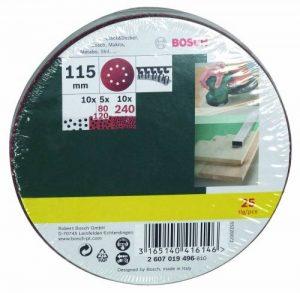 Bosch 2607019496 Lot de feuilles abrasives pour Ponceuse excentrique Grain 80-140 115 mm 25 pièces de la marque Bosch image 0 produit
