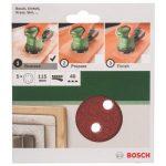 Bosch 2609256A15 Feuilles abrasives pour Ponceuses excentriques Diamètre 115 mm 8 trous Grain 40 Lot de 5 feuilles de la marque Bosch image 1 produit