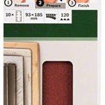 Bosch 2609256A83 Feuilles abrasives pour Ponceuses vibrantes 93 x 185 Nombre de trous 8 Grain 120 Lot de 10 feuilles de la marque Bosch image 1 produit
