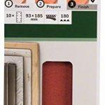Bosch 2609256A84 Feuilles abrasives pour Ponceuses vibrantes 93 x 185 Nombre de trous 8 Grain 180 Lot de 10 feuilles de la marque Bosch image 1 produit