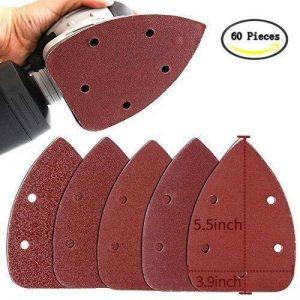 Buwant 60pièces Mouse Feuilles abrasives Hook & Loop Disques assorties 60/100/150/240/400/600Grain de la marque BUWANT image 0 produit