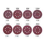 Disque de Ponçage, Gyvazla Lot de 80 Papier de Verre à Fixation en Nylonpour Ponceuse Excentrique Ø 125 mm Disques Abrasifs de 40/60/80/120/180/240/320/400 (10 disques par taille de grain) de la marque Gyvazla image 3 produit