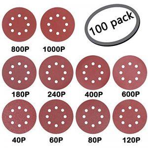 """GuTen 100PCS 5"""" Inch 125mm 8 Trous Détail de la souris Ponceuse orbitale Papier abrasif Papier abrasif Crochet et boucle sans Assortiment d'adhésifs 40/60/80/120/180/240/400/600/800/1000 Grits de la marque GuTen image 0 produit"""