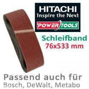 Hitachi 753243 Lot de 5 bandes de papier abrasif pour ponceuse à bande Grain80, 76x533mm) de la marque HIKOKI image 0 produit