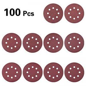 Hotgod Lot de 100 disques abrasifs 125 mm 8 trous 40/60/❉80/100/120/180/❉240/320/400/800 Grit Disques à crochet et boucle pour ponceuse orbitale aléatoire de la marque Hotgod image 0 produit