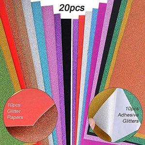 JNCH 20 Feuilles A4 Papier Paillette Autocollant + Papier Glitter Brillant Coloré Bling pour Scrapbooking Carte Décoration Album DIY Bricolage Artisanat (10pcs adhésif + 10pcs Normal) de la marque JNCH image 0 produit