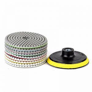 JOYOOO diamant polissage pad, M10Tampon auto-adhésif , 14Pieces 4 pouces humide sec diamant polissage pad set, pour granit, marbre,terrazzo et autre surface plane ou convexe, polissage concave. de la marque JOYOOO image 0 produit