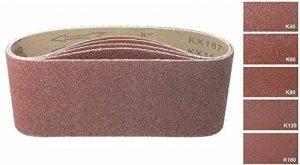 Lot de 10 bandes abrasives de 100 x 560-Pour ponceuse à bande-Assortiment de grains mélangé: 40, 60, 80, 120 et 180-En tissu renforcé de la marque TD-Warenhandel image 0 produit