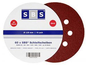 Lot de 120 disques abrasifs diamètre 125 mm grain 20 x 40/60/80/120/180/240 pour ponceuse excentrique de la marque SBS image 0 produit