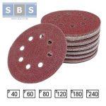 Lot de 120 disques abrasifs diamètre 125 mm grain 20 x 40/60/80/120/180/240 pour ponceuse excentrique de la marque SBS image 3 produit