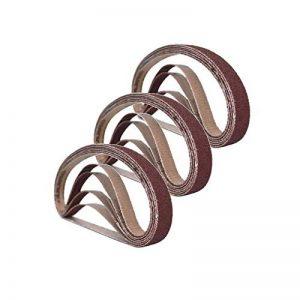 Lot de 15 bandes abrasives 25 mm x 762 mm, 3 grains 60/80/100/120/240, outil de ponçage à courroie pour le travail du bois, le polissage du métal, 15 bandes abrasives en oxyde d'aluminium de la marque LYNKO image 0 produit