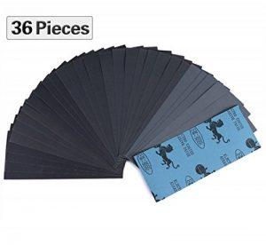 Lot de 36 papier a poncer, Papier Abrasif 230 x 93mm à Sec à l'Eau 400 600 800 1000 1200 1500 2000 2500 3000 4 Feuilles/Grain, 9 x 3,6 Pouces de la marque HGHC image 0 produit