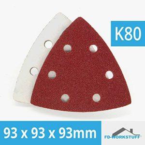 Lot de 50 feuilles abrasives 93 x 93 x 93 Grain 80 pour Ponceuse Delta 6 trous de la marque FD-Workstuff image 0 produit