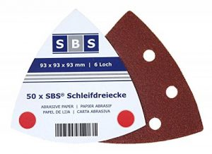 Lot de 50feuilles de papier de verre SBS de différents grains avec fixation Velcro, en forme de triangle de 93x93x93, pour ponceuse delta de la marque SBS image 0 produit