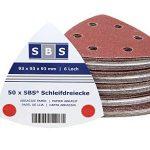 Lot de 50feuilles de papier de verre SBS de différents grains avec fixation Velcro, en forme de triangle de 93x93x93, pour ponceuse delta de la marque SBS image 1 produit