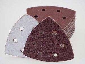 Lot de 50 triangles abrasifs pour ponceuse Deltaschern – 93 x 93 x 93 mm – 6 trous – Grain 80/Delta, papier abrasif de la marque S&S-Shop image 0 produit