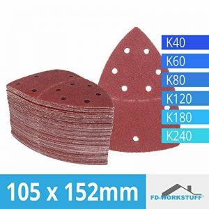 Lot de 60 feuilles abrasives 105 x 152 mm Grain 10 x 40/60/80/120/180/240 pour ponceuse multifonction Prio de la marque FD-Workstuff image 0 produit