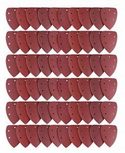Lot de 60 Feuilles Abrasives, Joyoldelf Papier de Verre, Papier de Ponçage avec 5 Trous 6 x 40/60/80/100/120/180/240/320/400/800 Idéal pour Poncer/ Polir/ Dérouiller de la marque joyoldelf image 0 produit