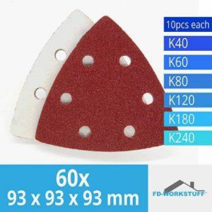 Lot de 60 triangles 93 x 93 x 93 mm abrasifs pour ponceuse Delta 6 trous, Grain 40/60/80/120/180/240 ( 10 disques par type de grain ) de la marque FD-Workstuff image 0 produit