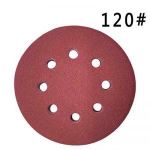 Maveek 50pièces 8trous Disques abrasifs Grain 120Crochet et boucle 12,7cm Assortiment de papier abrasif pour ponceuse orbitale de la marque Maveek image 0 produit