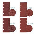 Navaris 25x papier de verre - Abrasif ponceuse vibrante - Feuilles abrasives collantes avec crochet et scratch - Grain P 40/60/80/100-93 x 187 cm de la marque Navaris image 2 produit