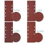 Navaris 25x papier de verre - Abrasif ponceuse vibrante - Feuilles abrasives collantes avec crochet et scratch - Grain P 40/60/80/100-93 x 230 cm de la marque Navaris image 2 produit