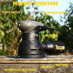 Ponceuse Excentrique, TECCPO Professional 350W Ponceuse, 14000 OPM, avec Réutilisable Poche à Poussière,12pcs Papiers de Verre, pour Polir le Bois et Enlever la Peinture - TARS22P de la marque TECCPO image 1 produit