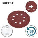 PRETEX 60 disques de ponçage pour ponceuse excentrique 8 trous, Ø 125 mm, 10 disques par chaque taille de grain 40/60 / 80/120 / 180/240   set de feuilles à poncer, set de disques de ponçage de la marque PRETEX image 1 produit