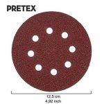 PRETEX 60 disques de ponçage pour ponceuse excentrique 8 trous, Ø 125 mm, 10 disques par chaque taille de grain 40/60 / 80/120 / 180/240 | set de feuilles à poncer, set de disques de ponçage de la marque PRETEX image 2 produit