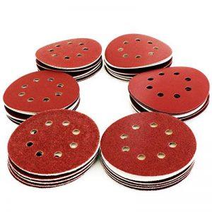 S&R Disques Abrasifs 125 mm - 60 Disque de Ponçage: 10 * P40, 10 * P60, 10 * P80, 10 * P120, 10 * P180, 10 * P240, 8 trous, pour poncer et polir avec ponceuses excentrique de la marque S-R image 0 produit