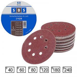 SBS Lot de 60 disques de ponçage à fixation en Nylonpour ponceuse excentrique Ø 125 mm Grain abrasif de 40/60/80/120/180/240 (10 disques par taille de grain) de la marque SBS image 0 produit