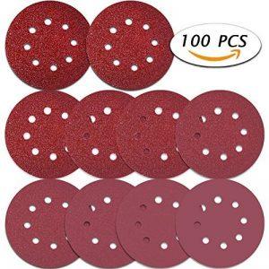 Selizo Lot de 100 disques abrasifs, 12,7 cm, 8 trous - Papiers abrasifs auto-agrippants pour ponceuse orbitale aléatoire, grains 40/60/80/100/120/180/240/320/400/800 de la marque Selizo image 0 produit