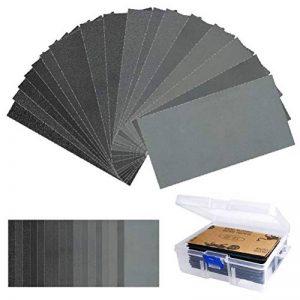 TIMESETL 108 Pièces Papier de Verre 60/80/100/120/150/180/240/320/400/600/800/1000/1200/1500/2000/2500/3000 Assortiment de Papier abrasif Papier abrasif Sec/à l'eau de la marque TIMESETL image 0 produit