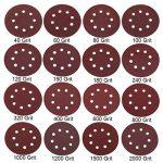 Topwa Lot de 160disques abrasifs 12,7cm 40–2000grains Crochet et boucle assortis 8trous Pour ponceuse Orbital (125mm) de la marque TOPWA image 1 produit