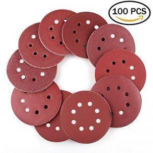 WeeDee Lot de 100 disques de ponçage disque abrasifs pour ponceuse excentrique Ø 125 mm grain abrasif de 40/60/80/100/120/180/240/320/400/800 (10 disques à poncer par taille de grain) de la marque WeeDee image 0 produit