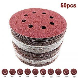 Yakamoz 50pcs 8 Trous Φ125mm Disques de Ponçage Alumine Papier de Sable Forme Ronde Pour Ponceuse Disques de Meulage Crochet et Boucle Disque de Polissage 60/80/100/120/150/180/240/320/400/600 Grit de la marque Yakamoz image 0 produit